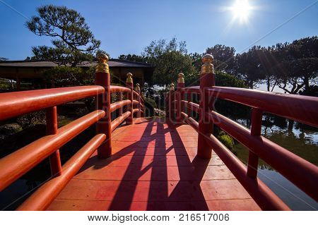 Bridge in japanese garden in Monte Carlo, Monaco, France