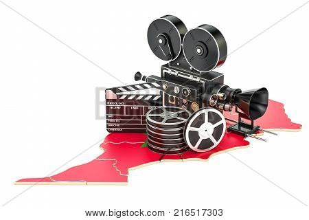 Moroccan cinematography film industry concept. 3D rendering isolated on white background