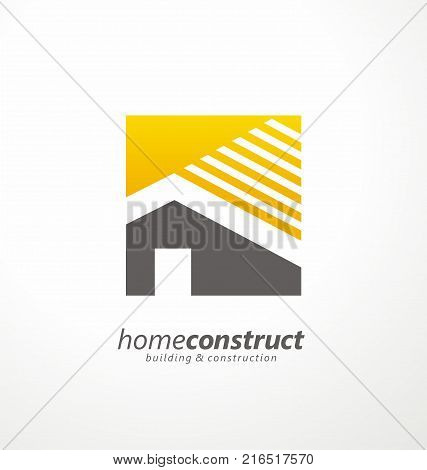 Home construction vector logo design. Logo symbol or icon for real estates or building construction business.