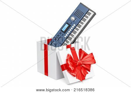 Synthesizer inside gift box gift concept. 3D rendering isolated on white background