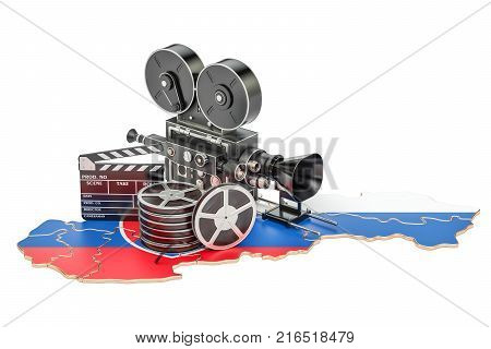 Slovak cinematography film industry concept. 3D rendering isolated on white background
