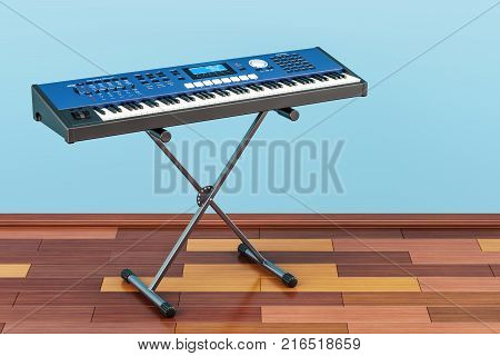Synthesizer on the wooden floor 3D rendering