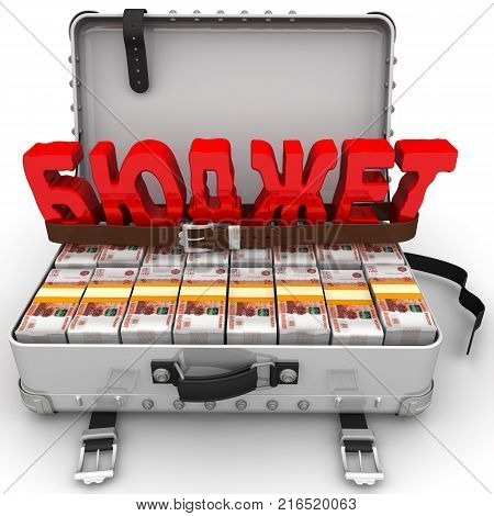 Limited budget. Red word BUDGET (Russian language) is tightened by the trouser strap on the suitcase filled with packs of Russian rubles. Financial concept of limited budget. Isolated. 3D Illustration