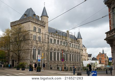 Ghent, Belgium - April 16, 2017: Castle of Gerald the Devil or Geeraard de Duivelsteen is a 13th century gothic architecture building in Ghent, Belgium