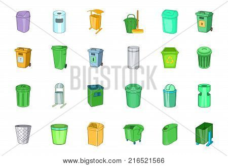 Garbage can icon set. Cartoon set of garbage can vector icons for your web design isolated on white background