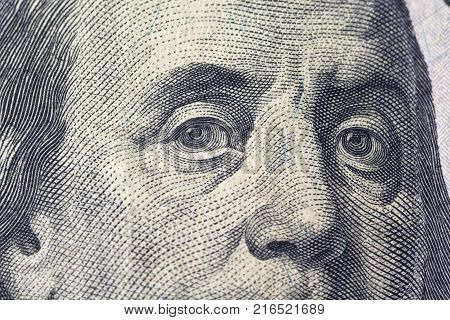 Fenjamin Franklin on a dollar bill close-up. Business & Finance