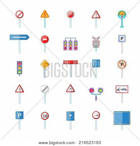 Road sings icon set. Cartoon set of road sings vector icons for your web design isolated on white background