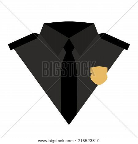 Policeman icon vector illustration. Flat policeman icon isolated on white background. Black police suit with a tie and a badge. Policeman uniform logo
