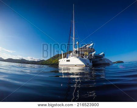 Sailing Yacht Catamaran Sailing In The Caribbean Sea