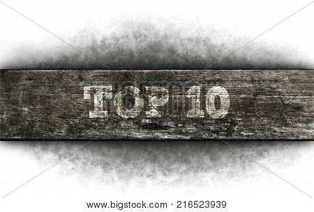 top 10 - text on old wooden plank