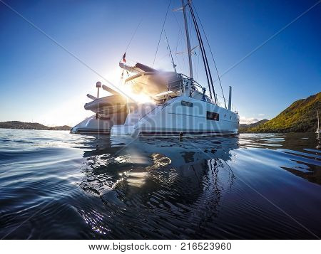 Sailing Yacht Catamaran Sailing In The Caribbean Sea