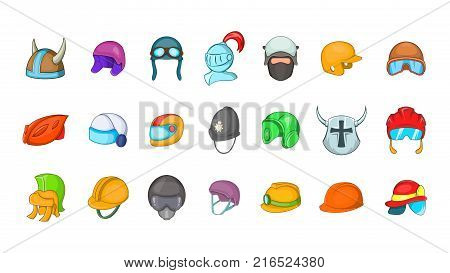 Helmet icon set. Cartoon set of helmet vector icons for your web design isolated on white background