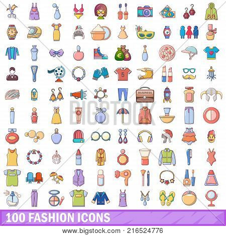 100 fashion icons set. Cartoon illustration of 100 fashion vector icons isolated on white background