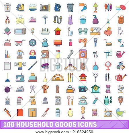 100 household goods icons set. Cartoon illustration of 100 household goods vector icons isolated on white background