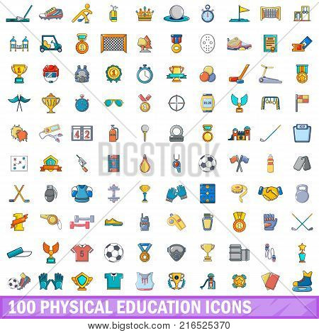 100 physical education icons set. Cartoon illustration of 100 physical education vector icons isolated on white background