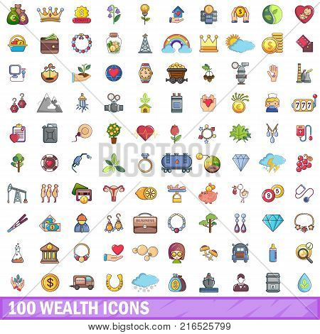 100 wealth icons set. Cartoon illustration of 100 wealth vector icons isolated on white background