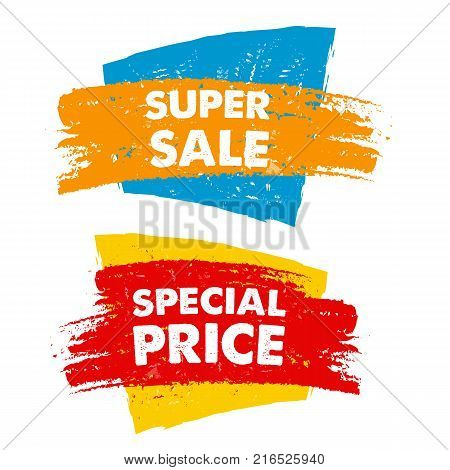 super sale and special price in text banner colorful drawn label business commerce shopping concept