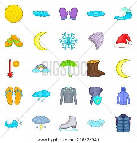 Autumn weather icons set. Cartoon set of 25 autumn weather vector icons for web isolated on white background