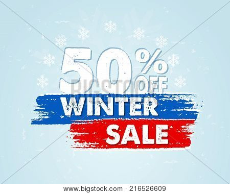 50 percent off winter sale - text in red blue drawn banner with snowflakes, business holiday shopping concept, vector