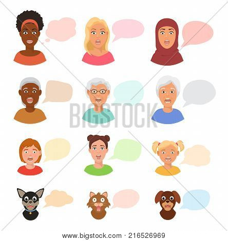 Scared people face with speech bubbles vector frightened woman or girl characters scary in panic and afraid nervous girl, woman, cat and dog animals facial illustration isolated on white background.