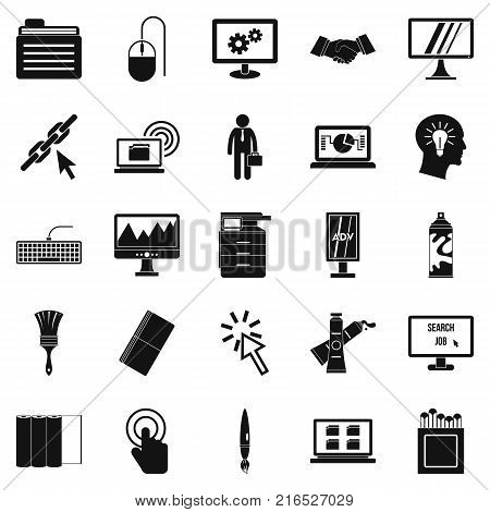 Data processor icons set. Simple set of 25 data processor vector icons for web isolated on white background