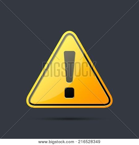 Exclamation danger sign. Hazard warning attention yellow sign with exclamation mark symbol. Vector isolated realistic sign.
