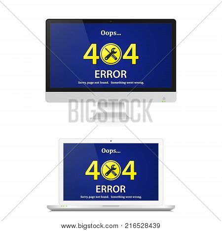 404 Error page not found on computer screen. Internet error sign. Vector isolated illustration of realistic pc computer and laptop error.