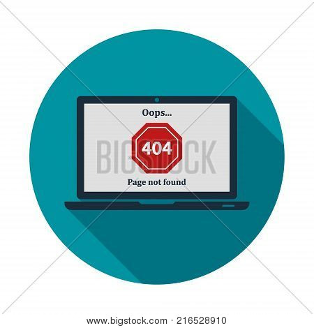 404 Error page not found on laptop screen in circle. Internet error sign. Vector isolated illustration with shadow and blue background in flat style.
