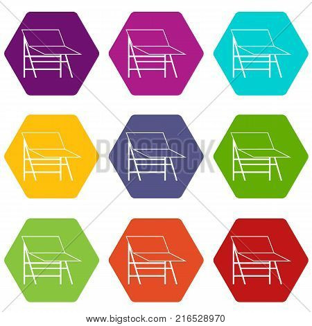 Blank portable screen icon set many color hexahedron isolated on white vector illustration