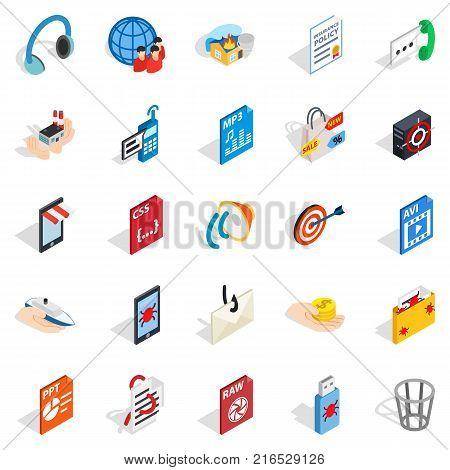 Creating advertising icons set. Isometric set of 25 creating advertising vector icons for web isolated on white background