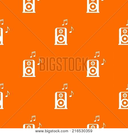Portable music speacker pattern repeat seamless in orange color for any design. Vector geometric illustration