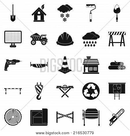 Construction material icons set. Simple set of 25 construction material vector icons for web isolated on white background