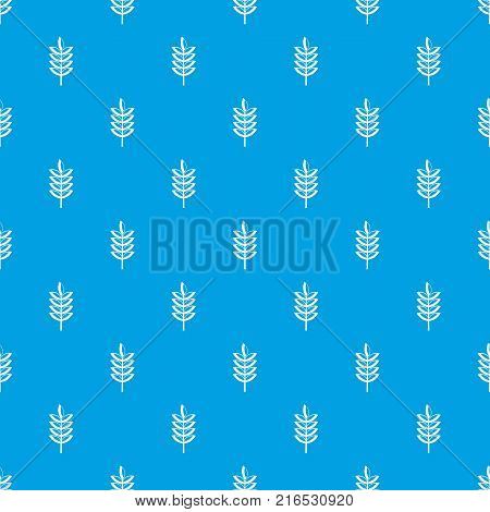 Rye spica pattern repeat seamless in blue color for any design. Vector geometric illustration