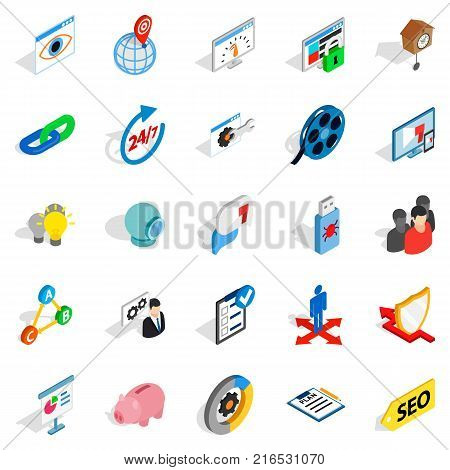 Work on the project icons set. Isometric set of 25 work on the project vector icons for web isolated on white background