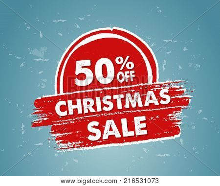 50 percent off christmas sale - text in red blue drawn banner, business holiday shopping concept, vector
