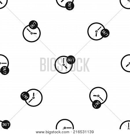 Clock 24 7 pattern repeat seamless in black color for any design. Vector geometric illustration