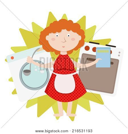 House work and household, everyday housekeeping, woman cooking and laundering, isolated vector illustration concept poster