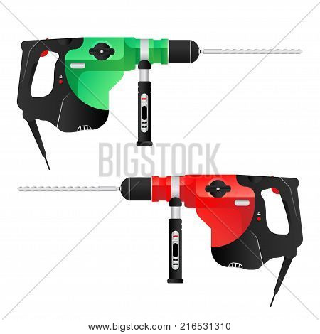 Vector green and red puncher tool for construction and repair. Flat vector illustration EPS 10.