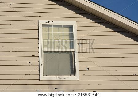 Holes in exterior wall siding from hail damage