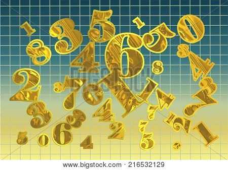 golden arithmetic background. abstract background with numbers. 10 EPS