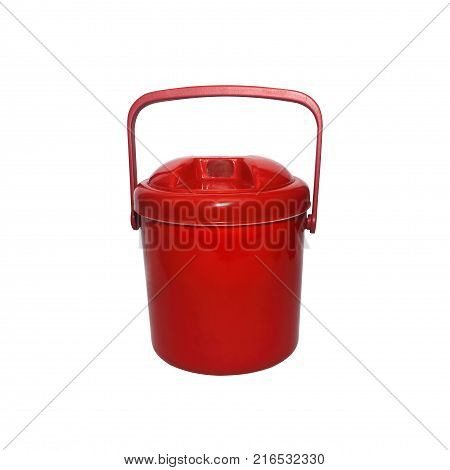 Red plastic bucket with lid isolated on a white background.