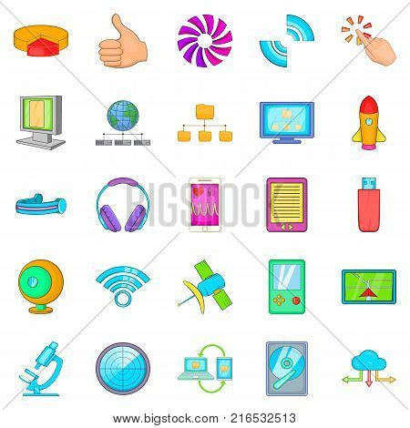 Mobile dev icons set. Cartoon set of 25 mobile dev vector icons for web isolated on white background