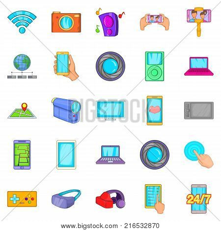 Capture memories icons set. Cartoon set of 25 capture memories vector icons for web isolated on white background