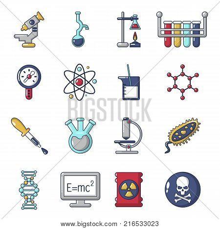 Chemistry laboratory icons set. Cartoon illustration of 16 chemistry laboratory vector icons for web