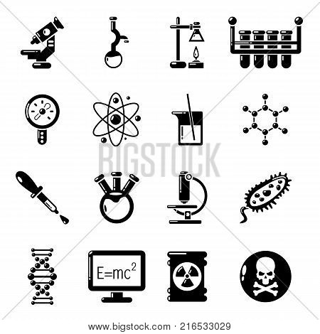 Chemistry laboratory icons set. Simple illustration of 16 chemistry laboratory vector icons for web