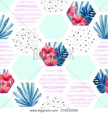 Abstract summer hexagon shapes seamless pattern: watercolor hibiscus flowers palm monstera leaves hexagon with doodle marbling texture stripes. Geometric background. Hand painted illustration