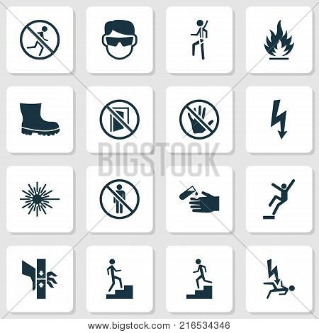 Protection icons set with laser beam, eye protective, stop and other fall hazard elements. Isolated vector illustration protection icons.