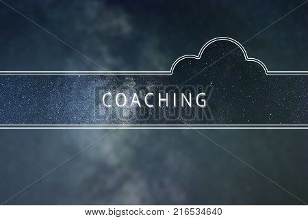 COACHING word cloud Concept. Space background. COACHING