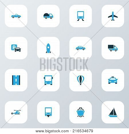Transport icons colored set with cab, autobus, lorry and other aerostat elements. Isolated vector illustration transport icons.