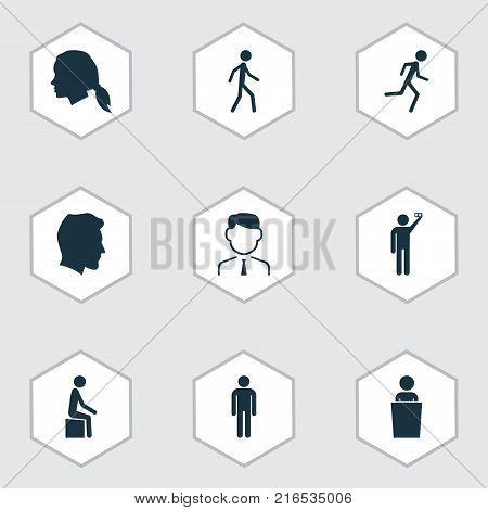 People icons set with gentleman, gentlewoman head, photographed and other gentlewoman head elements. Isolated vector illustration people icons.